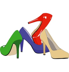 A set of womens shoes vector