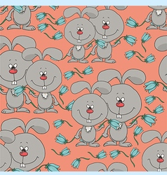 Pattern with rabbits and flowers vector
