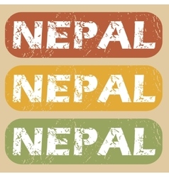 Vintage nepal stamp set vector