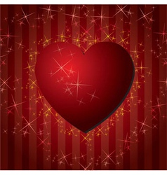 Red hearts valentines day background with stars vector