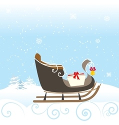 Sled snow winter bell lovely kid special vector