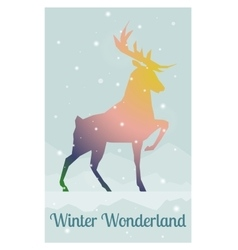 Deer in snowy winter night vector