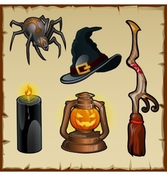 Set of tools for witches five magic items vector