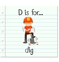 Flashcard letter d is for dig vector