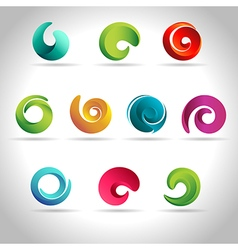 Set of abstract swirl vector image