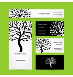 Business cards design with abstract tree vector image vector image