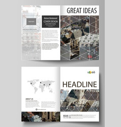 business templates for bi fold brochure magazine vector image