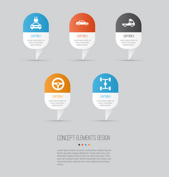 Car icons set collection of wheelbase automobile vector
