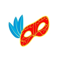 Carnival mask with feathers icon isometric 3d vector