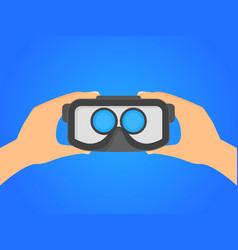 cartoon human hands holding virtual reality vector image vector image