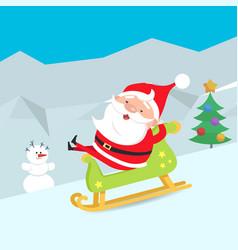 Cartoon santa claus riding a sleigh winter snow vector