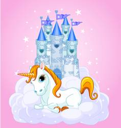 castle and unicorn vector image vector image