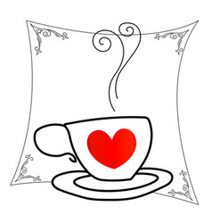 coffee cup with red heart vector image