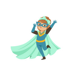 Comic brave kid standing on one leg and waving her vector
