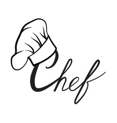 cook hat drawn lettering sign hat chef cook hat vector image