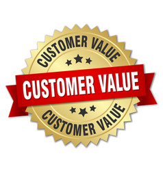 Customer value round isolated gold badge vector