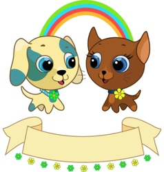 cute puppy and kitten vector illustration vector image vector image