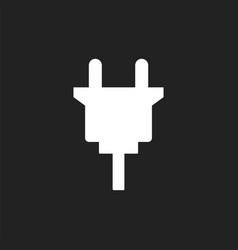 Electric plug icon power plug flat on black vector