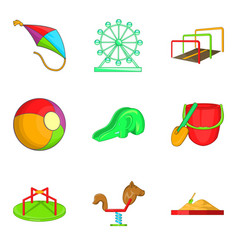 ferris wheel icons set cartoon style vector image