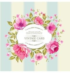 Flower label on the vintage card vector image