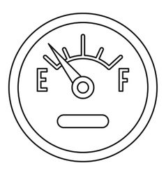 Fuel gauge showing empty icon outline style vector