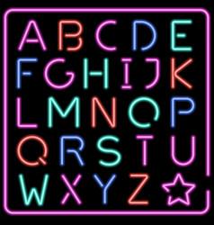 glowing multicolor neon typeface vector image vector image