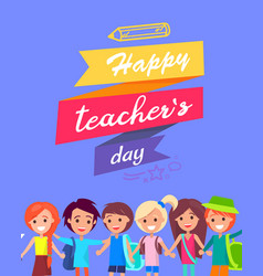 Happy teacher s day congratulation postcard vector