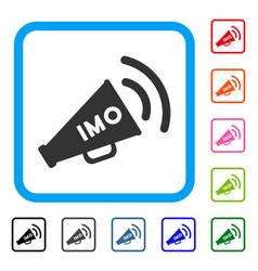 Imo megaphone alert framed icon vector