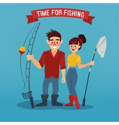 Man and Woman Fishers Time for Fishing vector image