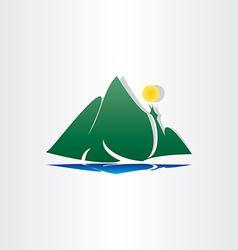 mountain lake sun symbol vector image vector image