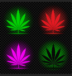 Neon hemp leaf icon set vector