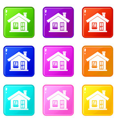 One-storey house with a chimney icons 9 set vector