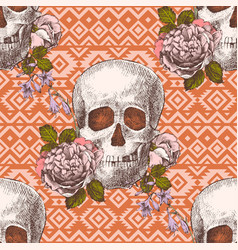 Seamless pattern with skulls and flowers vector
