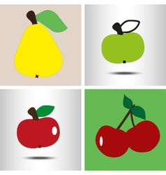 set fruit pear apples berry vector image vector image
