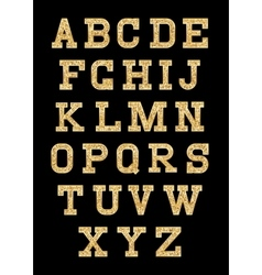 Set of stylized gold texture letters with metallic vector