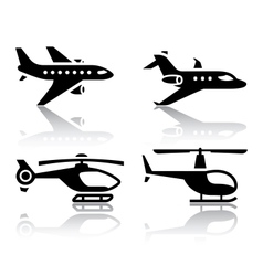Set of transport icons - airbus and helicopter vector