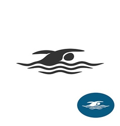 Swimming man black silhouette logo water waves vector