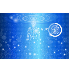 technology conceptbody structure human on blue vector image vector image