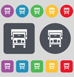 Truck icon sign a set of 12 colored buttons flat vector