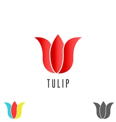 Tulip logo flower mockup cosmetic spa simple vector image