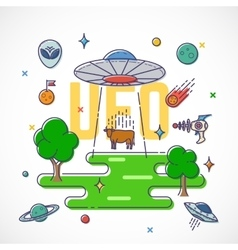 Ufo abducts cow abstract flat style vector