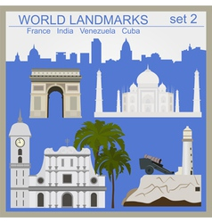 World landmarks icon set Elements for creating vector image