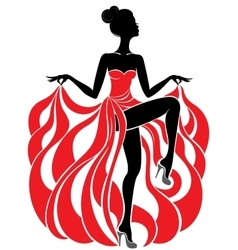 Young beautiful dancer girl in red dress vector image vector image