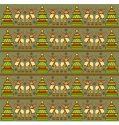 Christmas background with funny elks vector image