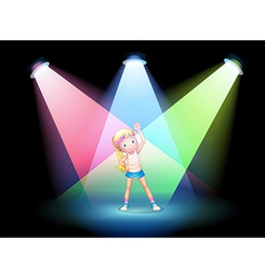 A girl exercising on the stage with spotlights vector