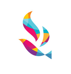 abstract colored bird logo template vector image