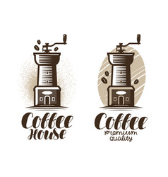 cafe coffeehouse logo or label coffee grinder vector image