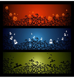 Happy halloween trick or treat web banners set vector