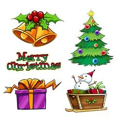 A group of christmas decors vector