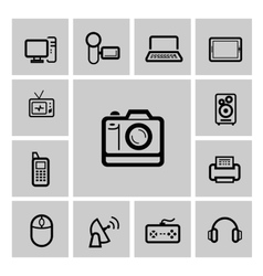 Black electronic devices icons set vector